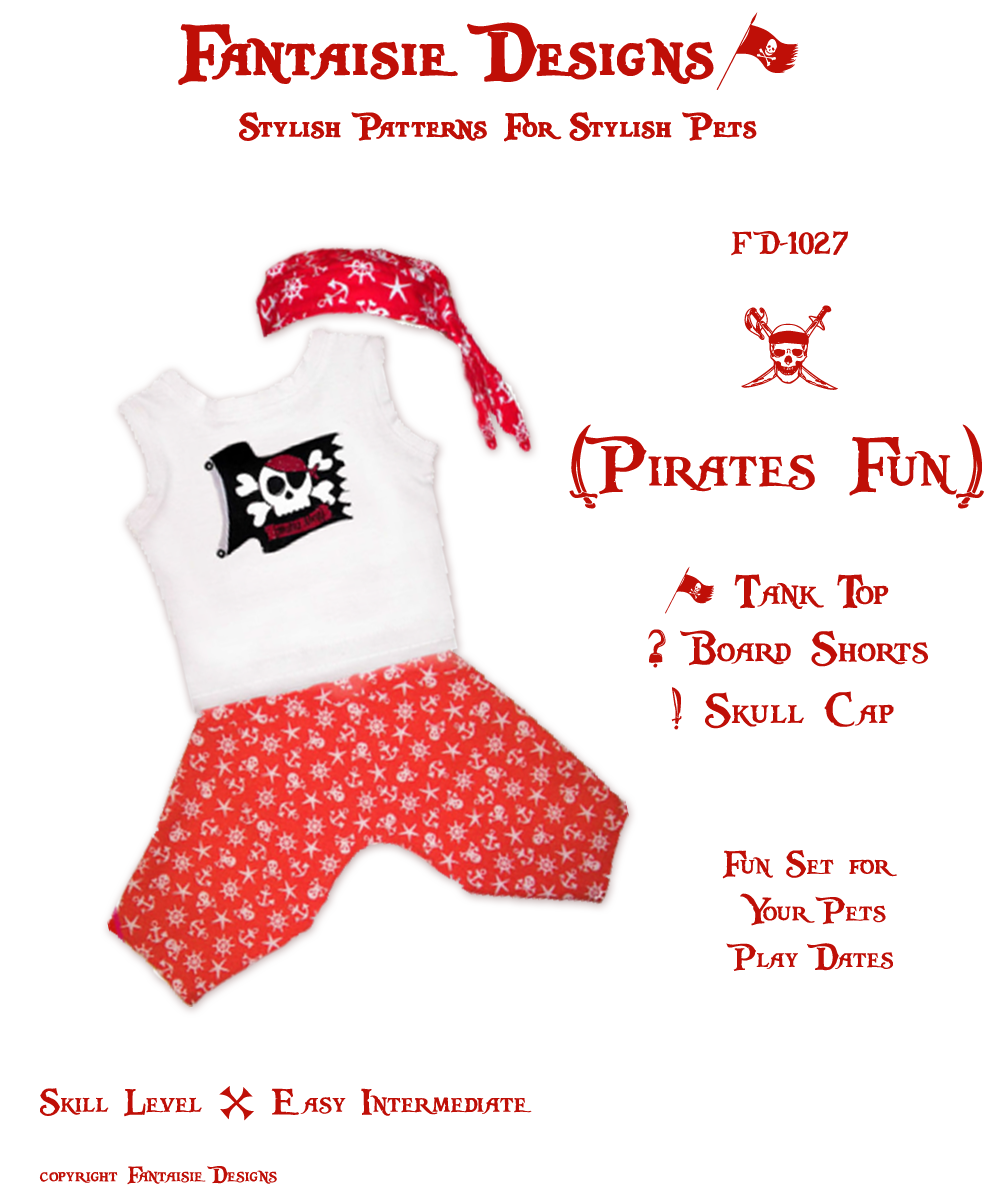 Dog clothes sewing pattern for boys fd 1027 pirates fun by pirates fun tank top board shorts and pirate skull cap dog clothing pattern jeuxipadfo Images